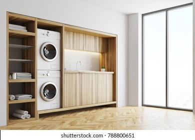 White laundry room interior with wooden countertops, a closet and built in washing machines. Side view 3d rendering mock up