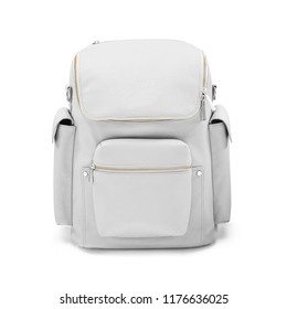 White Leather Backpack Isolated on White Background. Front View Satchel with Zippered Roomy Front Pocket Compartment. Travel Daypack. School Bag with Shoulder Straps. Pack with Bottle Pockets
