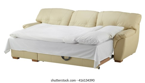 White leather corner couch bed isolated on white include clipping path