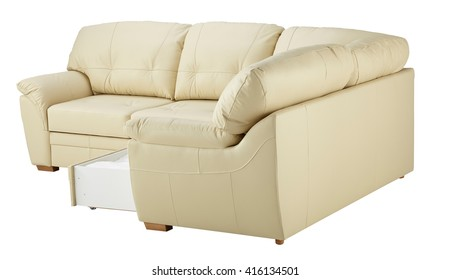 White leather corner sofa bed with storage isolated on white include clipping path