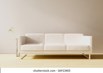 White leather couch to face a blank wall - front view