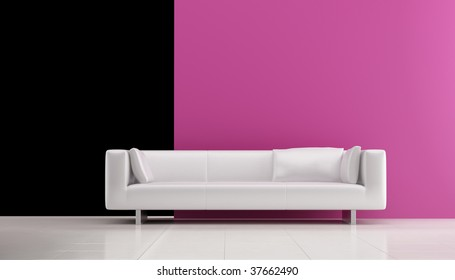 White leather Couch to face a blank white wall - front view