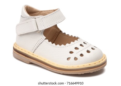 White leather kids sandals