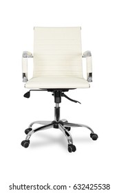 White leather office chair on wheels  isolated on white background