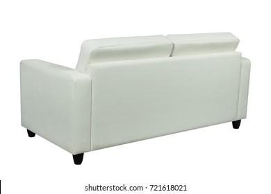 White leather  sofa or folding bed isolated on white background
