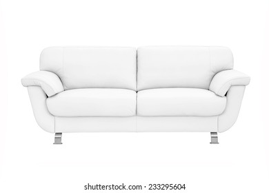 White leather sofa, isolated on white.