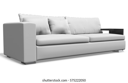 white leather sofa on white background 3D illustration