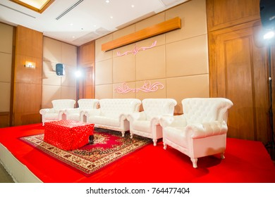 White leather sofa used in Thai and Chinese engagement ceremonies.