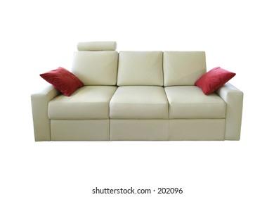 white leather square sofa