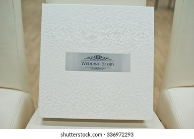 white leather wedding book and album