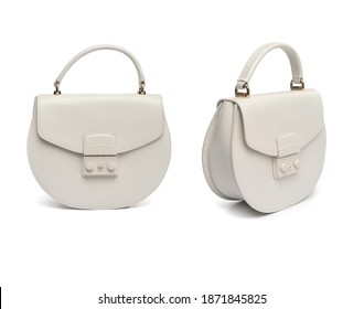 white leather women's purse isolated on white background - Shutterstock ID 1871845825