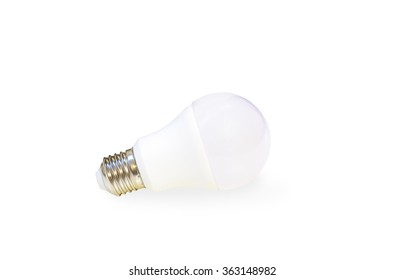 white LED light bulb isolated on white background with shadow