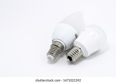 White LED round bulb with connector type e17 and White LED candelabra bulb with connector type e14 for energy saving isolated on white background.