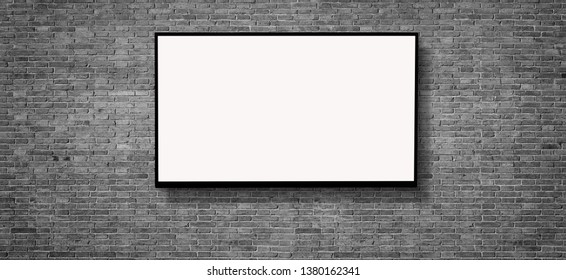 white LED tv television screen blank on gray wall background, clipping path