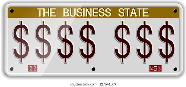 White license plates with dollar symbols on it / Dollar license plates