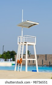 White Life Guard Tower near pool