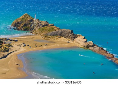 White lighthouse, location - Castlepoint, North Island, New Zealand