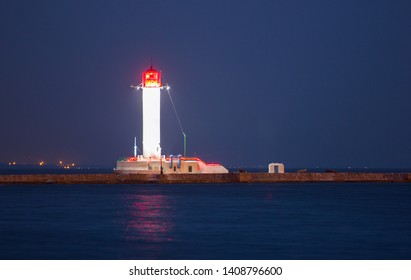 White lighthouse in Odessa at night