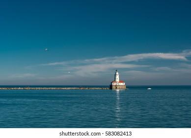 White lighthouse on Michigan Lake