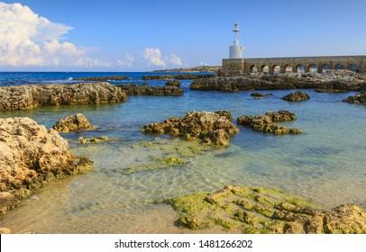 The white lighthouse of Otranto town, Salento peninsula, Apulia region, Italy.