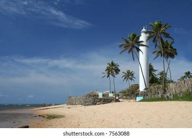 The white lighthouse at Praia do Forte, Bahia, Brazil