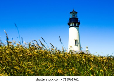 White Lighthouse Rising Out of the Dunes Against a Bright Blue Sky
