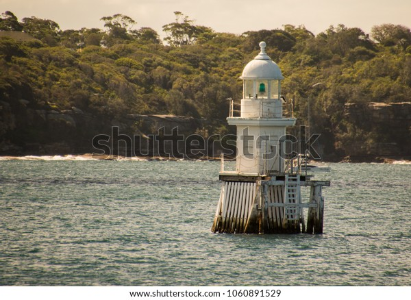 White Lighthouse at sea