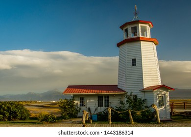White lighthouse in town of Homer, Kenai Peninsula, Alaska