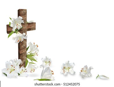 white lily and christian cross on white background