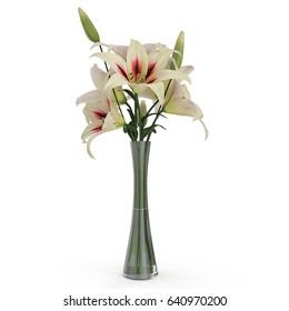 White Lily Vase on white. 3D illustration