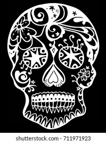 White Line Art Sugar Skull with Black Background
