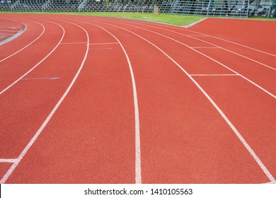 The white line on Synthetic Rubber Treadmill, Start point of run competition go to finish