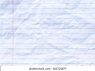 White lined sheet of notepad crumpled paper background.