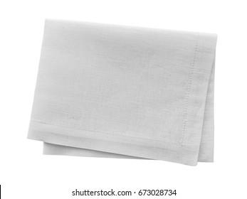 White linen napkin isolated on white background