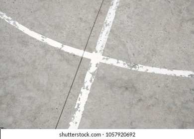 white lines on concrete floor -  abstract vintage background