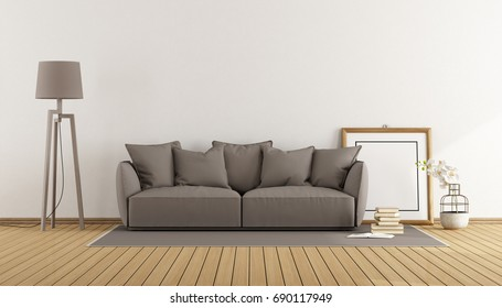 White living room with brown sofa,floor lamp and blank frame - 3d rendering