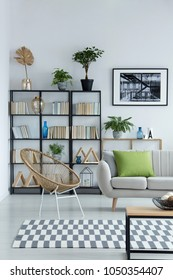 White living room interior with framed photo on the wall and many books on shelves