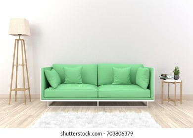 White living room interior with green fabric sofa, lamp, cabinet  and plants on empty white wall background.3d rendering.