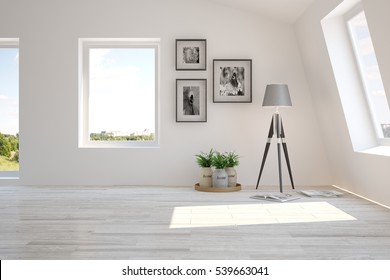 White living room interior with lamp and green landscape in window. Scandinavian home design. 3D illustration