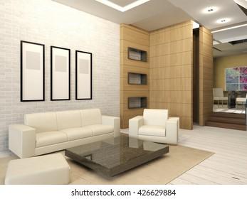 White living room interior in modern design, apartment living room interior with white furnitures, 3D rendering