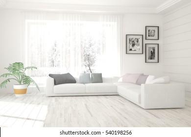 White living room interior with sofa and winter landscape in window. Scandinavian home design. 3D illustration