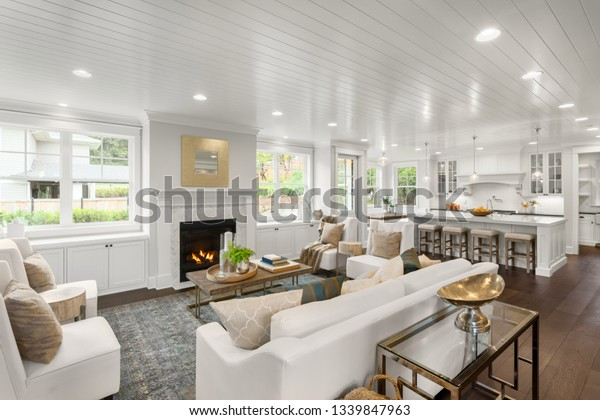 White Living Room Kitchen New Luxury Stock Photo Edit Now 1339847963