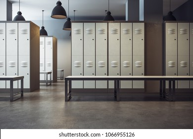 White locker room gym school interior. 3D Rendering