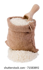 White long rice in small canvas sack