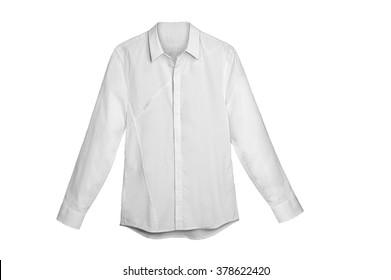 White Long Sleeve  shirt isolated on white
