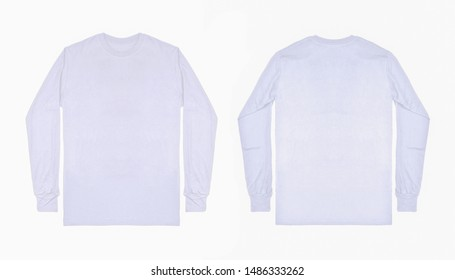 White long sleeve t shirt in front and back view isolated on white background with mockup concept