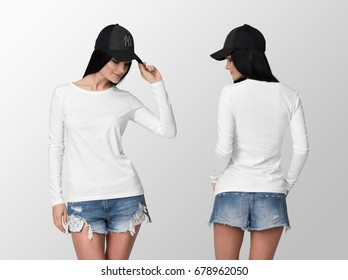 White long sleeve t-shirt on a young woman in shorts and cap, isolated, front and back, mockup.