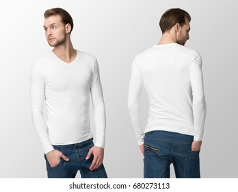 White long sleeve t-shirt on a young man in jeans and hat, isolated, front and back, mockup.
