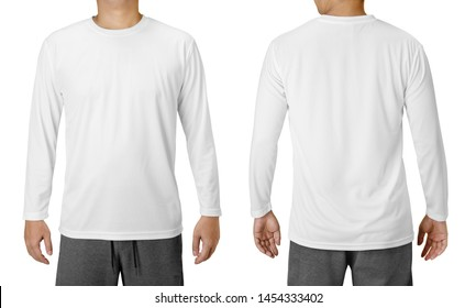 White Long Sleeved T-Shirt Design Template isolated on white