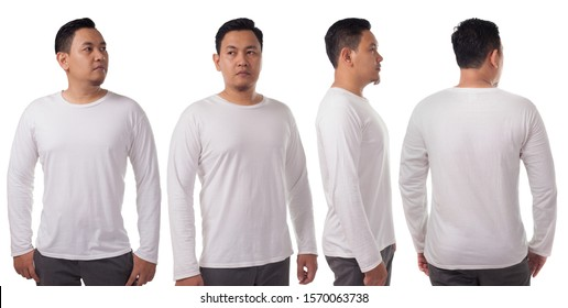 White long sleeved t-shirt mock up, front side and back view, isolated. Male model wear plain white shirt mockup. Long sleeve shirt design template. Blank tees for print